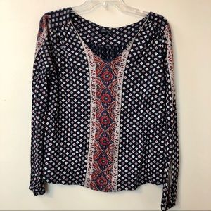 Lucky Brand Bohemia Navy and Red Top
